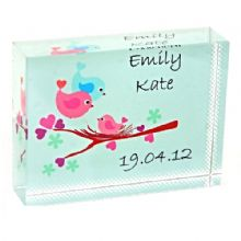 Baby Bird Crystal - Unique Personalised New Baby Gift or Christening Keepsake